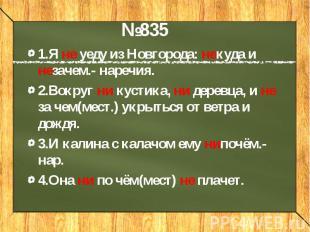 1.Я не уеду из Новгорода: некуда и незачем.- наречия.2.Вокруг ни кустика, ни дер