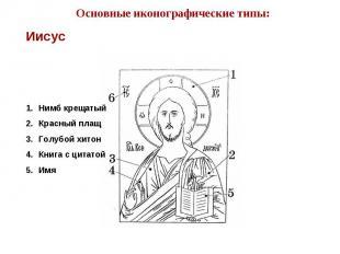 Основные иконографические типы:Нимб крещатыйКрасный плащГолубой хитонКнига с цит