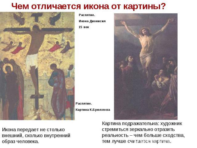 Чем отличается икона от картины?Распятие.Икона Дионисия15 векИкона передает не столько внешний, сколько внутренний образ человека.Картина подражательна: художник стремиться зеркально отразить реальность – чем больше сходства, тем лучше считается картина.