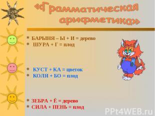 «Грамматическая арифметика»БАРЫНЯ – Ы + И = дерево ШУРА + Г = плод КУСТ + KA = ц
