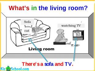 What's in the living room?There's a sofa and TV.