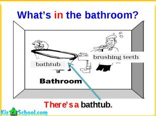 What's in the bathroom?There's a bathtub.