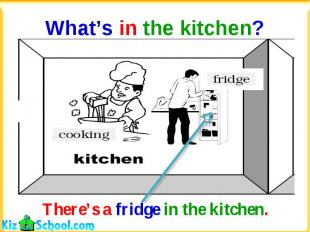 What's in the kitchen?There's a fridge in the kitchen.