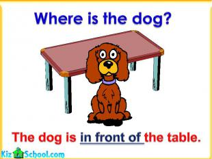 Where is the dog?The dog is in front of the table.