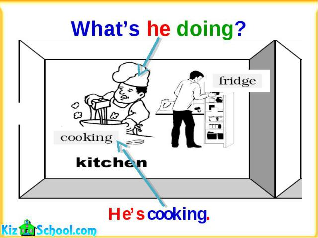 What's he doing?He's cooking.
