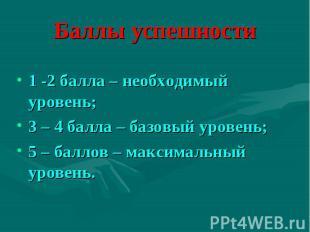 Баллы успешности1 -2 балла – необходимый уровень;3 – 4 балла – базовый уровень;5