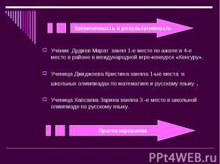Законченность и результативностьУченик Дудиев Марат занял 1-е место по школе и 4