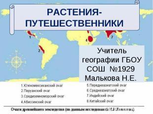 Растения-путешественники Учитель географии ГБОУ СОШ №1929 Малькова Н.Е.