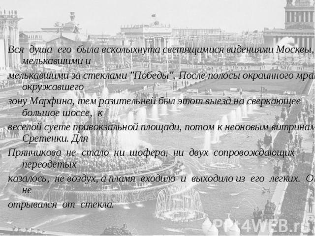 Вся душа его была всколыхнута светящимися видениями Москвы, мелькавшими имелькавшими за стеклами
