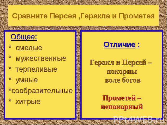 Сравните Персея ,Геракла и Прометея Общее: * смелые * мужественные * терпеливые * умные *сообразительные * хитрые Отличие :Геракл и Персей – покорны воле боговПрометей –непокорный