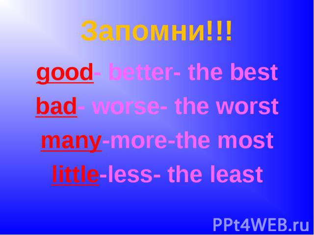 Запомни!!!good- better- the bestbad- worse- the worstmany-more-the mostlittle-less- the least