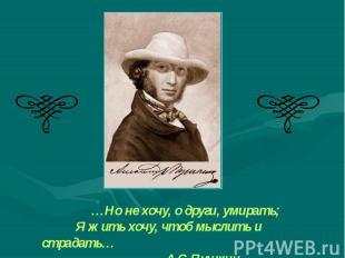 …Но не хочу, о други, умирать; Я жить хочу, чтоб мыслить и страдать… А.С.Пушкин