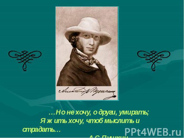 …Но не хочу, о други, умирать; Я жить хочу, чтоб мыслить и страдать… А.С.Пушкин «Элегия»
