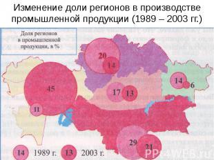 Изменение доли регионов в производстве промышленной продукции (1989 – 2003 гг.)