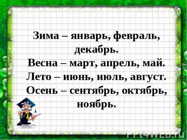 Зима – январь, февраль, декабрь.Весна – март, апрель, май.Лето – июнь, июль, август.Осень – сентябрь, октябрь, ноябрь.