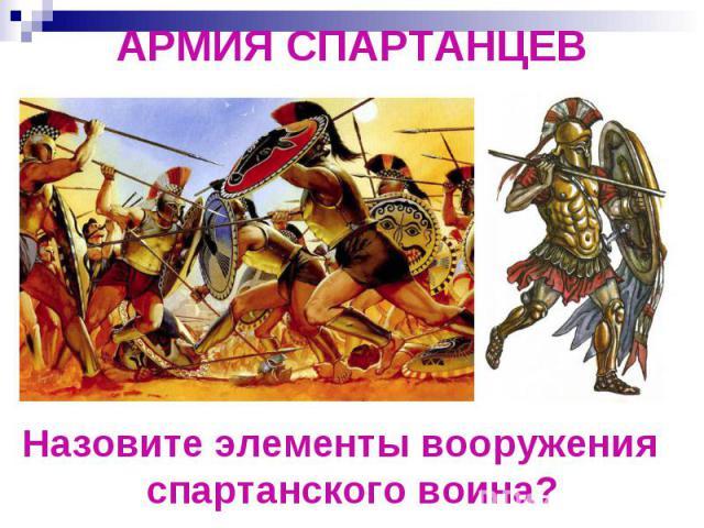 АРМИЯ СПАРТАНЦЕВНазовите элементы вооружения спартанского воина?