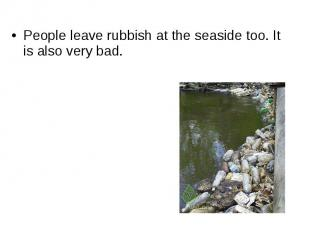 People leave rubbish at the seaside too. It is also very bad.