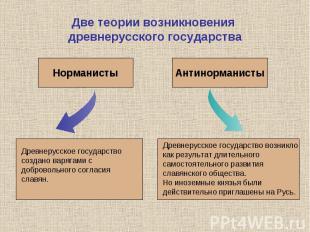Две теории возникновения древнерусского государстваДревнерусское государство соз