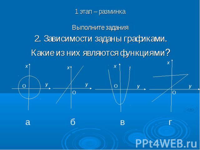 1 этап – разминкаВыполните задания2. Зависимости заданы графиками.Какие из них являются функциями?
