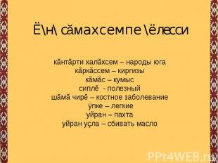 Ё\н\ сăмахсемпе \ёлесси кăнтăрти халăхсем – народы югакăркăссем – киргизыкăмăс –