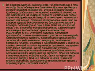 Во втором кургане, раскопанном Н.И.Веселовским в том же году, была обнаружена до