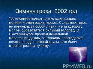 Зимняя гроза. 2002 год Грозе сопутствовал только один разряд молнии и один раска