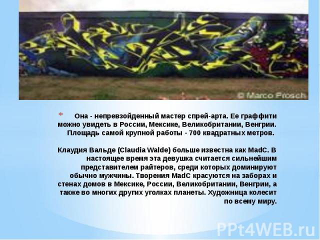 Она - непревзойденный мастер спрей-арта. Ее граффити можно увидеть в России, Мексике, Великобритании, Венгрии. Площадь самой крупной работы - 700 квадратных метров. Клаудия Вальде (Claudia Walde) больше известна как MadC. В настоящее время эта девуш…