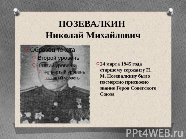 ПОЗЕВАЛКИН Николай Михайлович24 марта 1945 года старшему сержанту Н. М. Позевалкину было посмертно присвоено звание Героя Советского Союза