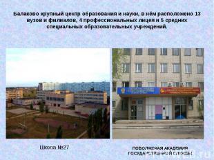 Балаково крупный центр образования и науки, в нём расположено 13 вузов и филиало