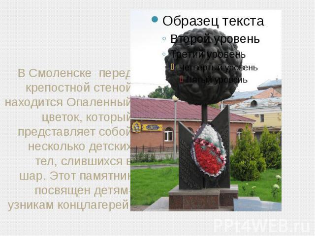 В Смоленске перед крепостной стеной находится Опаленный цветок, который представляет собой несколько детских тел, слившихся в шар. Этот памятник посвящен детям-узникам концлагерей.