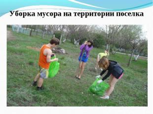 Уборка мусора на территории поселка