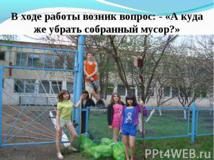 В ходе работы возник вопрос: - «А куда же убрать собранный мусор?»