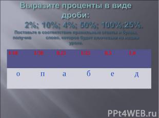 Выразите проценты в виде дроби: 2%; 10%; 4%; 50%; 100%;25%.Поставьте в соответст