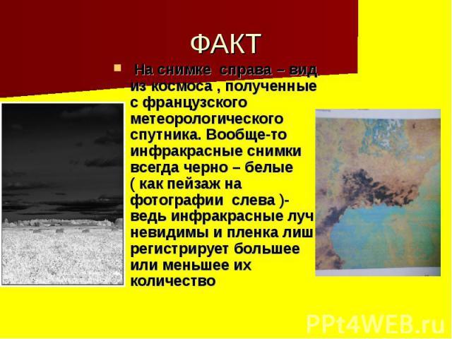 ФАКТ На снимке справа – вид из космоса , полученные с французского метеорологического спутника. Вообще-то инфракрасные снимки всегда черно – белые ( как пейзаж на фотографии слева )- ведь инфракрасные лучи невидимы и пленка лишь регистрирует большее…