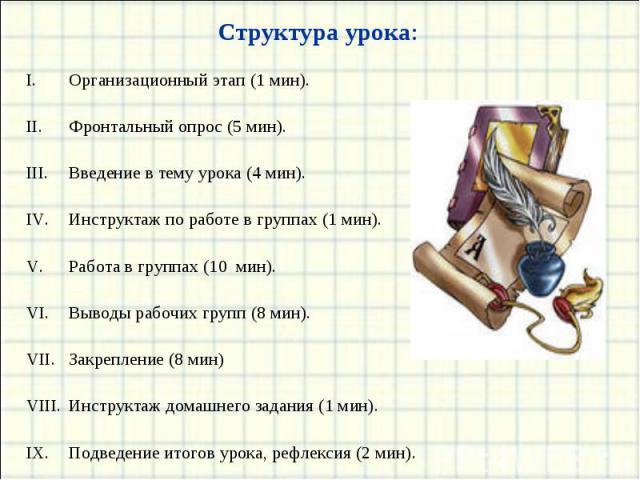 Структура урока: Организационный этап (1 мин).Фронтальный опрос (5 мин).Введение в тему урока (4 мин).Инструктаж по работе в группах (1 мин).Работа в группах (10 мин).Выводы рабочих групп (8 мин).Закрепление (8 мин)Инструктаж домашнего задания (1 ми…