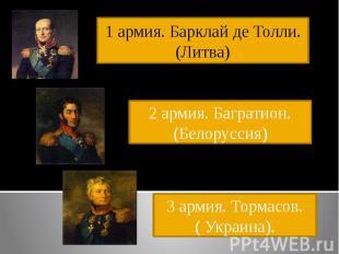 1 армия. Барклай де Толли. (Литва)2 армия. Багратион.(Белоруссия)3 армия. Тормас