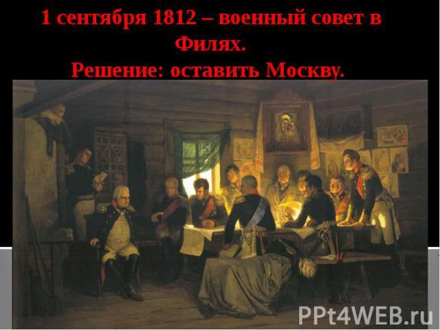 1 сентября 1812 – военный совет в Филях.Решение: оставить Москву.