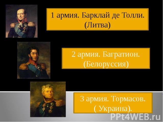 1 армия. Барклай де Толли. (Литва)2 армия. Багратион.(Белоруссия)3 армия. Тормасов.( Украина).