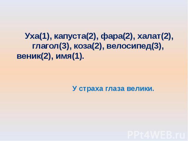Уха(1), капуста(2), фара(2), халат(2), глагол(3), коза(2), велосипед(3), веник(2), имя(1). У страха глаза велики.