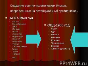 Создание военно-политических блоков, направленных на потенциальных противников.Н