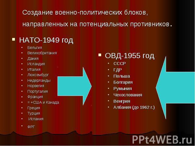 Создание военно-политических блоков, направленных на потенциальных противников.НАТО-1949 годБельгияВеликобританияДанияИсландияИталияЛюксембургНидерландыНорвегияПортугалияФранция = +США и КанадаГрецияТурция ИспанияФРГ ОВД-1955 год СССРГДРПольшаБолгар…