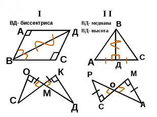 IВД- биссектриса I IВД- медианаВД- высота