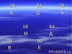 25 31 79 Е Д Ь 16 64 М Д 48 50 В Е