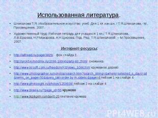 Использованная литература.Шпикалова Т.Я. Изобразительное искусство: учеб. Для 1
