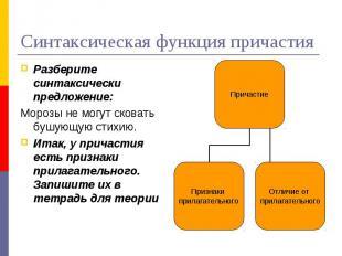 Синтаксическая функция причастияРазберите синтаксически предложение:Морозы не мо
