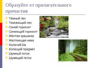 Образуйте от прилагательного причастияТёмный лесТемнеющий лесСиний горизонтСинею