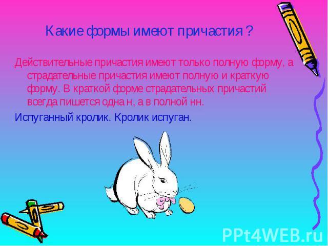Какие формы имеют причастия ?Действительные причастия имеют только полную форму, а страдательные причастия имеют полную и краткую форму. В краткой форме страдательных причастий всегда пишется одна н, а в полной нн.Испуганный кролик. Кролик испуган.