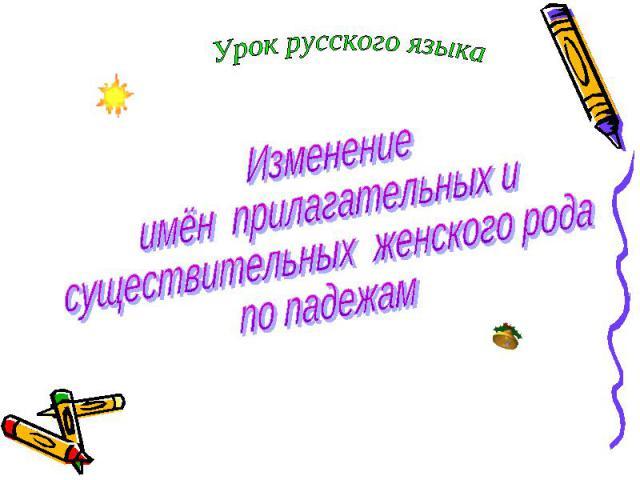 Урок русского языка Изменение имён прилагательных и существительных женского рода по падежам