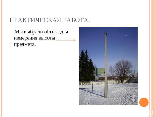 Практическая работа. Мы выбрали объект для измерения высоты предмета.