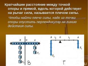 Кратчайшее расстояние между точкой опоры и прямой, вдоль которой действует на ры